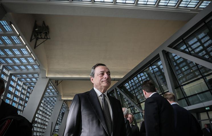 Глава Европейского центрального банка Марио Драги на открытии нового здания ЕЦБ