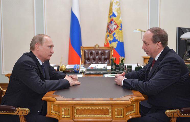 Президент РФ Владимир Путин и врио главы Еврейской АО Александр Левинталь