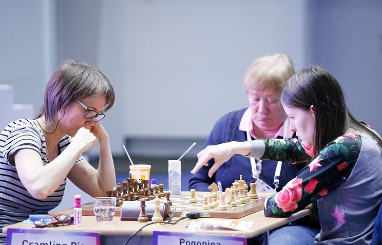 Наталья Погонина (справа) во время партии против шведки Пии Крамлинг