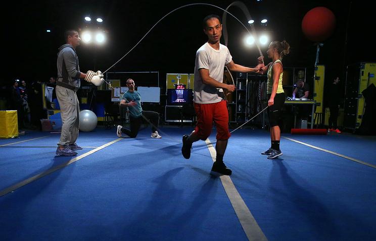 Репетиция артистов шоу Quidam цирка Cirque du Soleil
