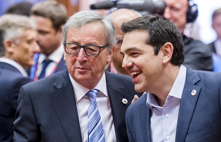 Глава Еврокомиссии Жан-Клод Юнкер и премьер-министр Греции Алексис Ципрас