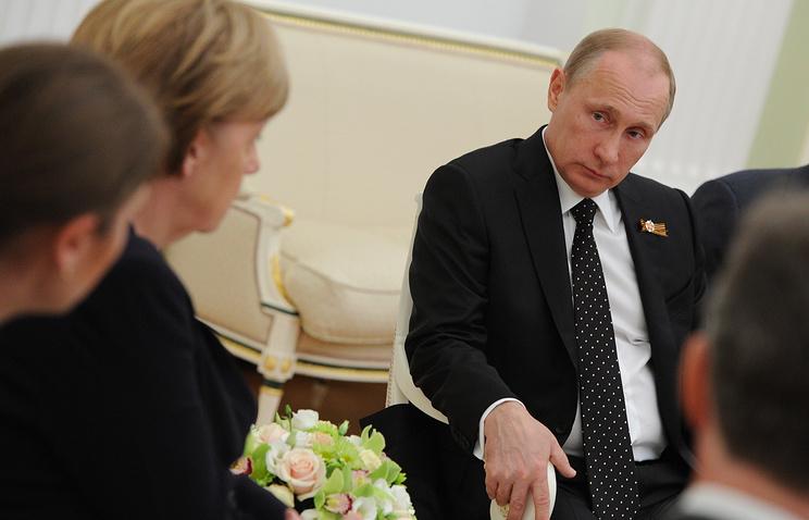 Президент России Владимир Путин и канцлер Германии Ангела Меркель во время двусторонней встречи в Кремле