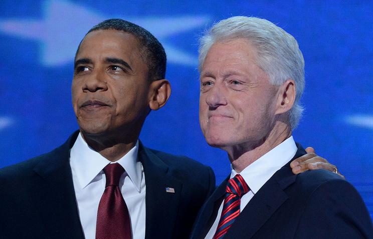 Президент США Барак Обама и бывший президент США Билл Клинтон