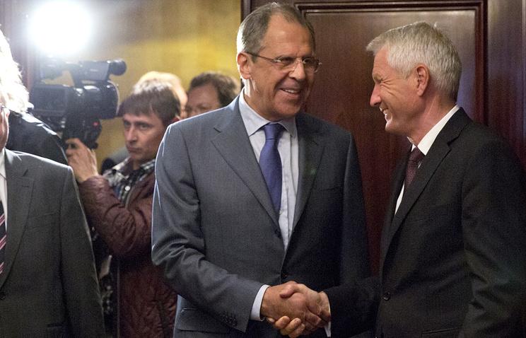 Глава МИД РФ Сергей Лавров и генсек Совета Европы Турбьерн Ягланд (слева направо)