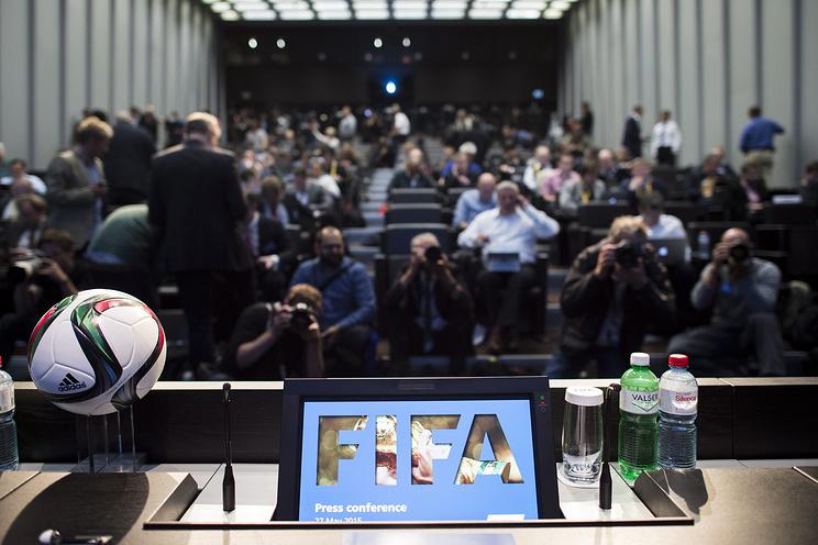 Пресс-конференция ФИФА, посвященная арестам членов руководства организации в Цюрихе