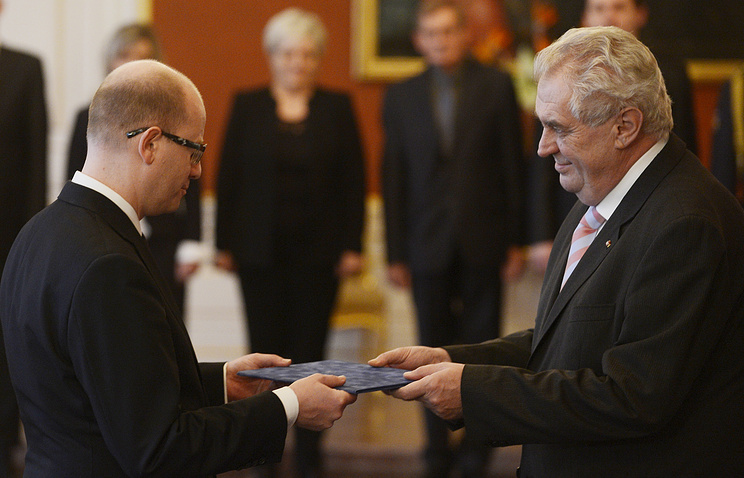 Премьер-министр Чехии Богуслав Соботка и президент Чехии Милош Земан