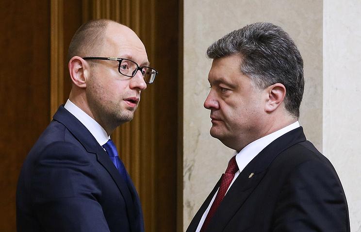 Премьер-министр Украины Арсений Яценюк и президент Украины Петр Порошенко