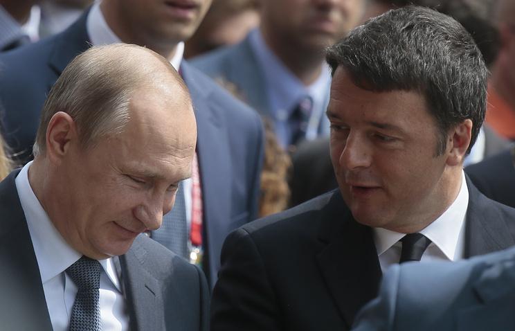 """Президент России Владимир Путин и премьер-министр Италии Маттео Ренци на международной выставке """"Экспо-2015"""""""
