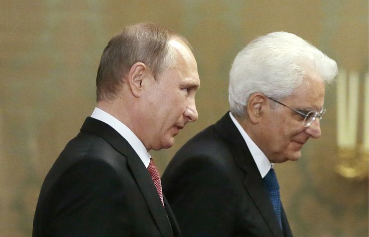 Президент РФ Владимир Путин и президент Италии Серджо Маттарелла