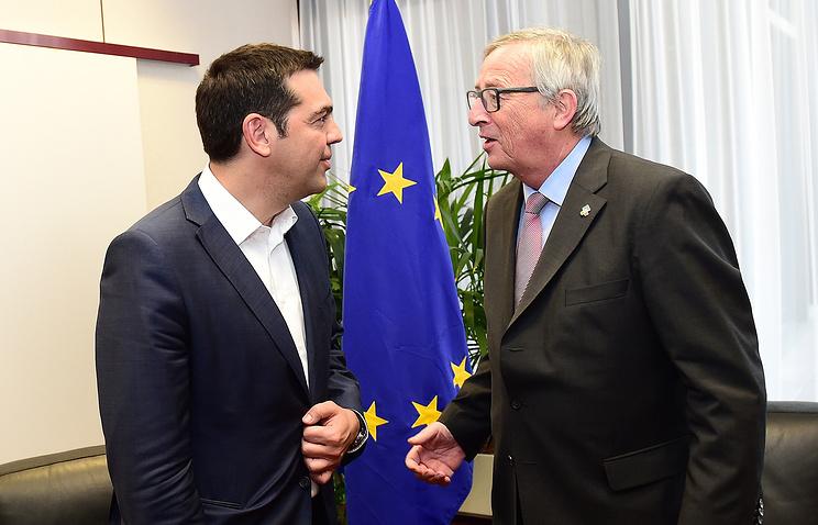 Премьер-министр Греции Алексис Ципрас и глава Еврокомиссии Жан-Клод Юнкер