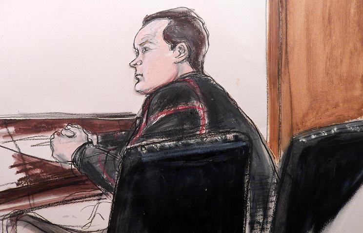Изображение  Евгения Бурякова во время судебного заседания в Нью-Йорке, 26 января 2015 года
