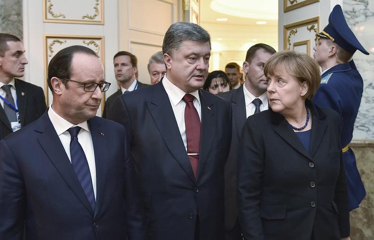 Президент Франции Франсуа Олланд, президент Украины Петр Порошенко и канцлер Германии Ангела Меркель
