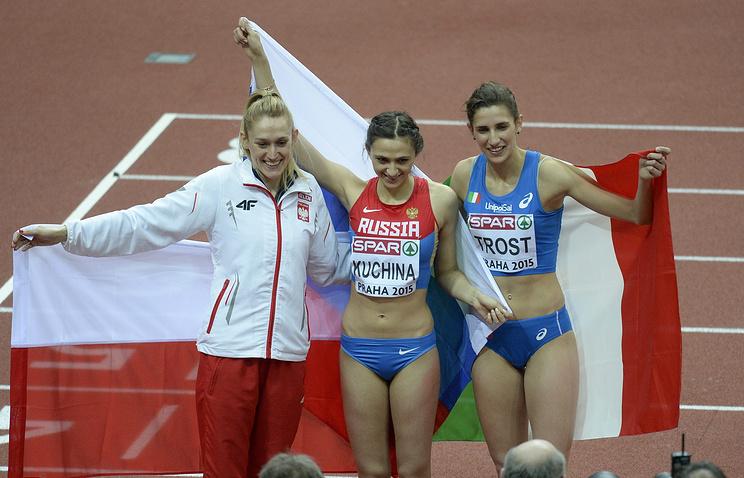 Победительницы соревнований по прыжкам в высоту чемпионата Европы по легкой атлетике в помещении