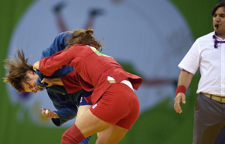 Соревнования по самбо среди женщин на I Европейских играх в Баку