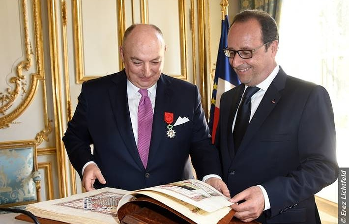 Вячеслав Моше Кантор и президент Франции Франсуа Олланд