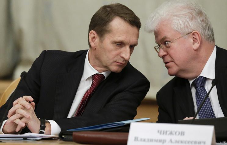 Сергей Нарышкин и Владимир Чижов (слева направо)