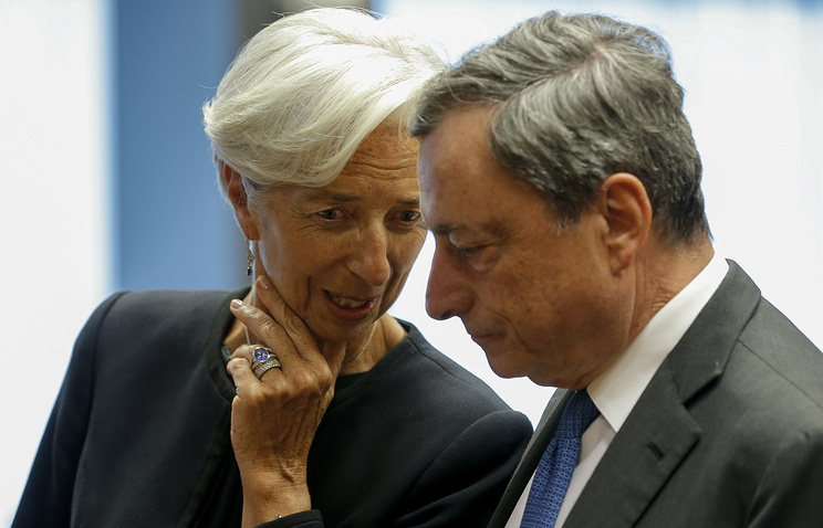 Глава МВФ Кристин Лагард  и глава ЕЦБ Марио Драги