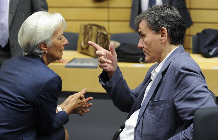 Глава МВФ Кристин Лагард  и глава минфина Греции Эвклидис Цакалотос