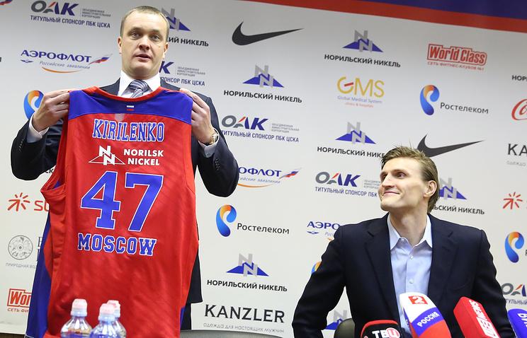 Президент баскетбольного клуба ЦСКА Андрей Ватутин и баскетболист Андрей Кириленко