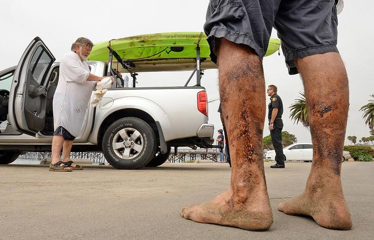 Санта-Барбара. Ноги и байдарка отдыхающего покрыты нефтью