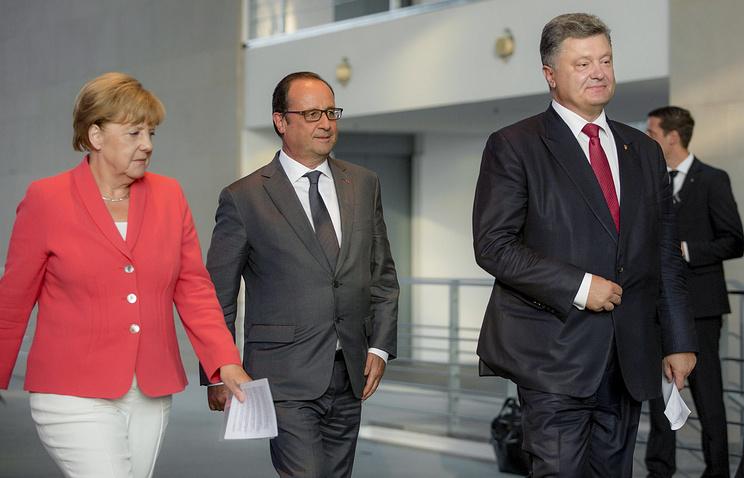 Канцлер ФРГ Ангела Меркель, президент Франции Франсуа Олланд и президент Украины Петр Порошенко