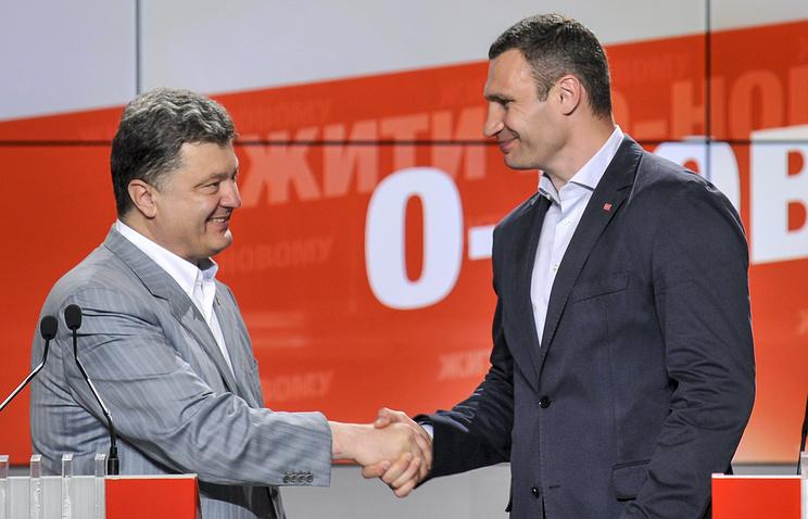 Президент  Украины  Петр Порошенко  и мэр Киева Виталий Кличко