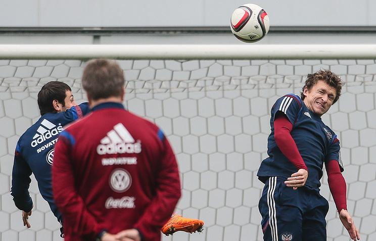 Тренировка сборной России по футболу перед игрой со сборной Швеции