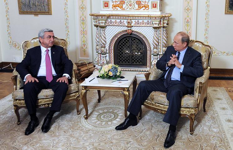 Президент Армении Серж Саргсян и президент России Владимир Путин