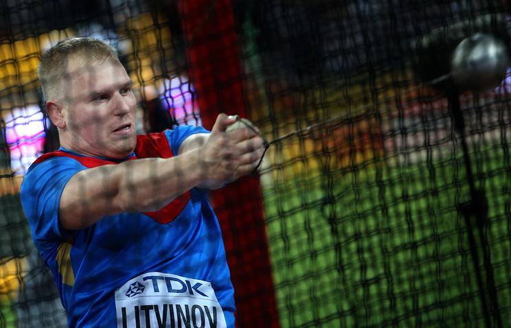 Российский спортсмен Сергей Литвинов во время финальных соревнований по метанию молота среди мужчин на чемпионате мира по легкой атлетике 2015