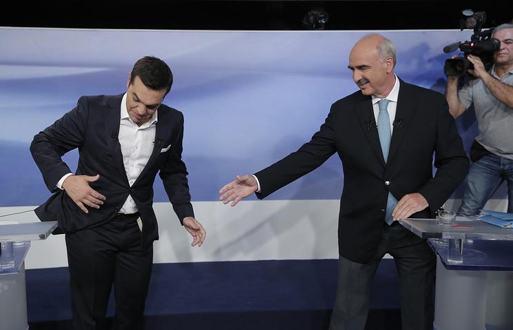 Председатель СИРИЗА Алексис Ципрас и лидер НД Вангелис Меймаракис