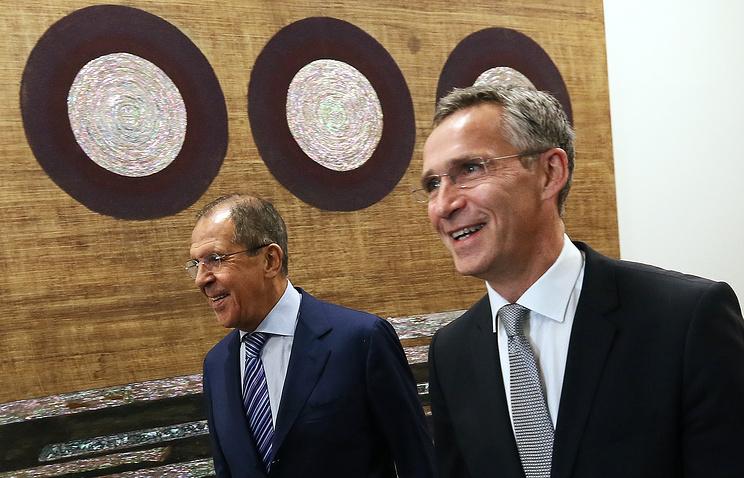 Министр иностранных дел России Сергей Лавров и генеральный секретарь НАТО Йенс Столтенберг (слева направо) во время встречи на полях Генеральной Ассамблеи ООН