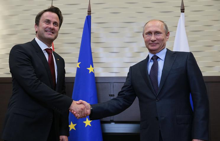 Премьер-министр Люксембурга Ксавье Беттель и президент России Владимир Путин