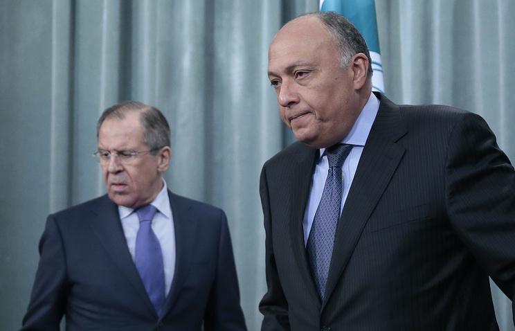 Министр иностранных дел России Сергей Лавров и министр иностранных дел Египта Самех Шукри