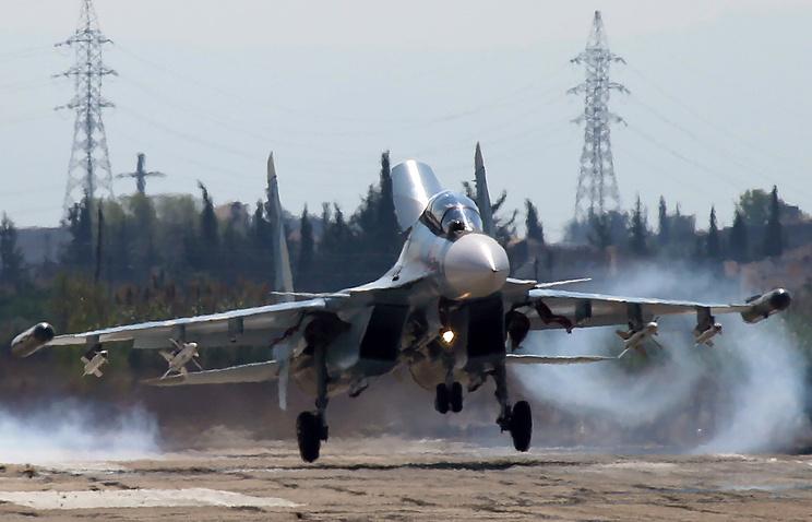 Су-30СМ на авиабазе в Сирии
