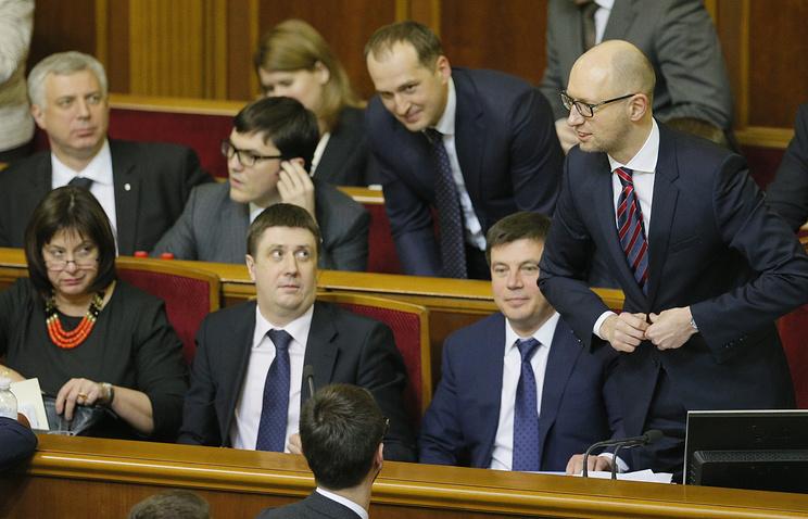 Премьер-министр Украины Арсений Яценюк на заседании Верховной рады