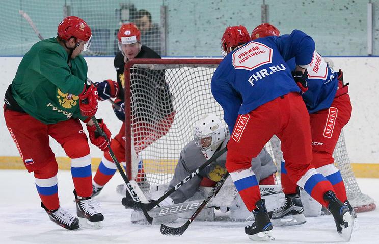 Тренировка олимпийской сборной России по хоккею