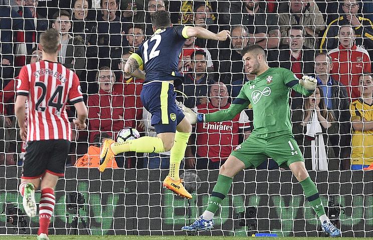 «Арсенал» победил «Саутгемптон» вперенесённом матче 26-го тура