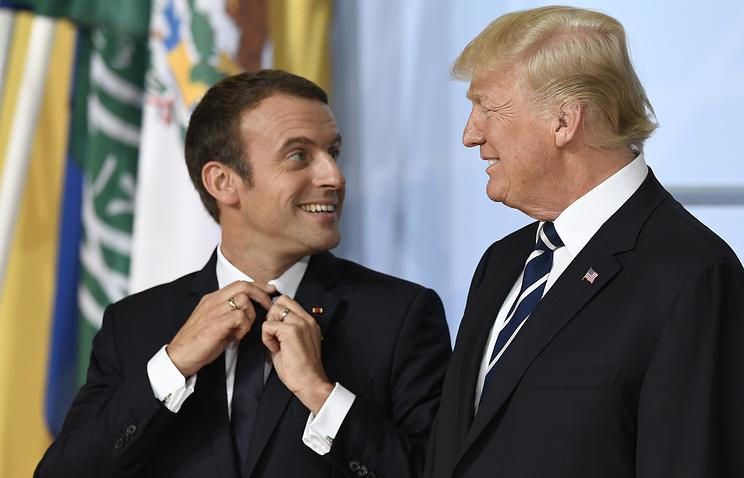 Президент Франции Эмманюэль Макрон и президен США Дональд Трамп на саммите G20, Гамбург, 7 июля