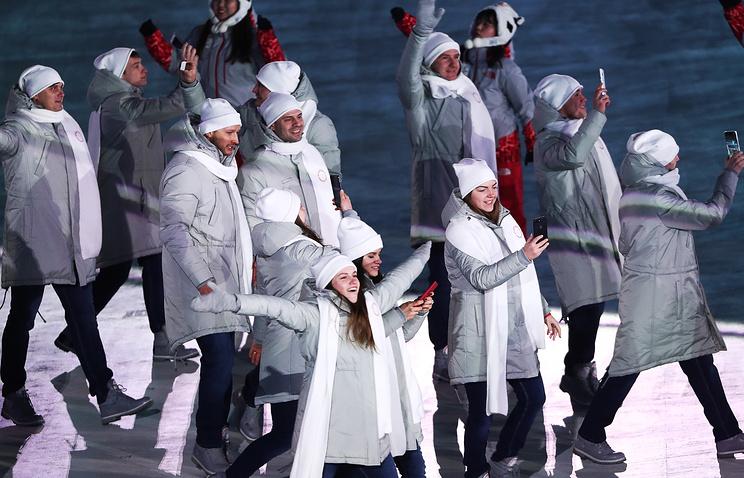 Делегация олимпийских спортсменов из России во время парада атлетов на церемонии открытия XXIII зимних Олимпийских игр