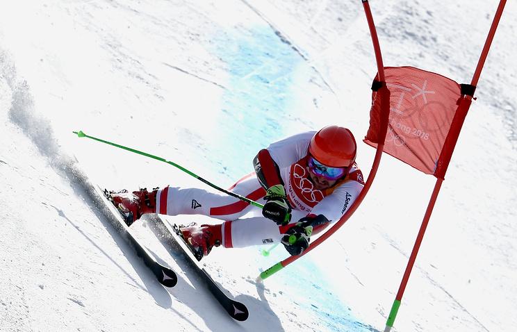 Австрийский горнолыжник— победительОИ вгигантском слаломе