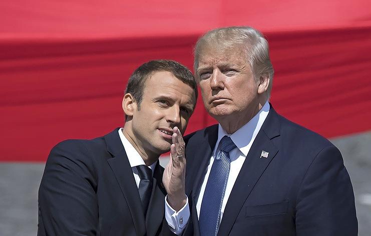 Президент Франции Эмманюэль Макрон и президент США Дональд Трамп