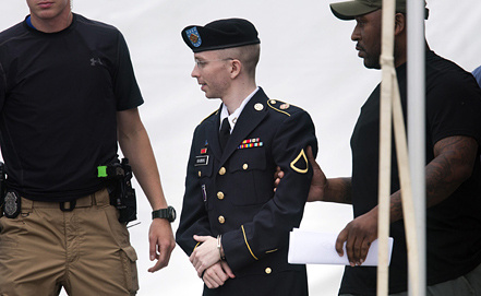 Американский военнослужащий Брэдли Мэннинг, обвиняемый в передаче сайту Wikileaks секретных документов. Фото EPA/ИТАР-ТАСС