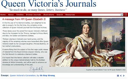 """Скриншот сайта """"Дневники королевы Виктории"""""""