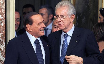 Сильвио Берлускони и Марио Монти. Фото EPA/ИТАР-ТАСС