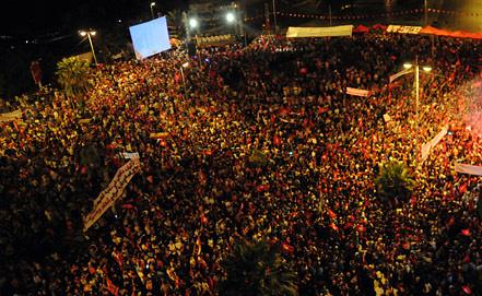 Антиправительственная акция протеста в Тунисе. Фото из архива EPA/ИТАР-ТАСС