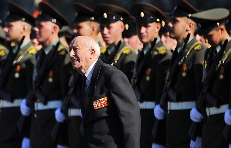 A WWII veteran during the military parade on Moscow's Red Square, 2014