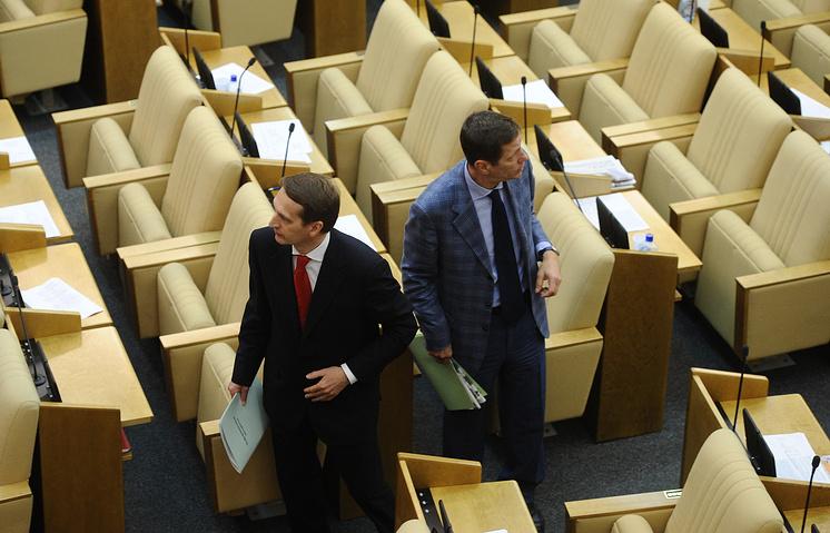 Спикер Госдумы Сергей Нарышкин и первый вице-спикер Госдумы Александр Жуков