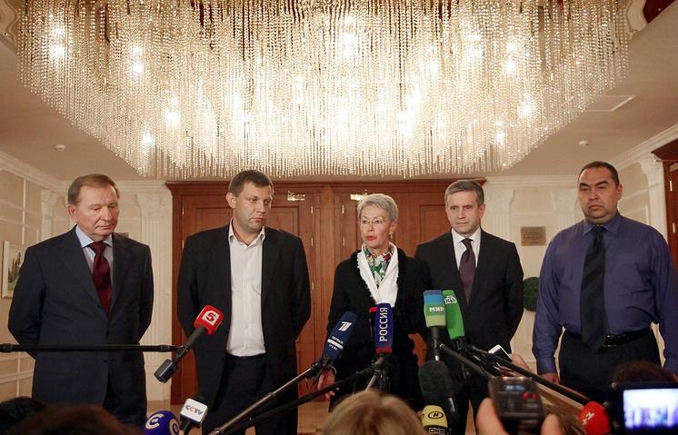 Леонид Кучма, Александр Захарченко, Хайди Тальявини, Михаил Зурабов и Игорь Плотницкий