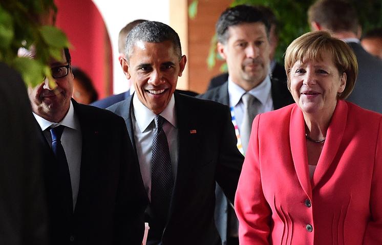 Президент Франции Франсуа Олланд, президент США Барак Обама, канцлер ФРГ Ангела Меркель