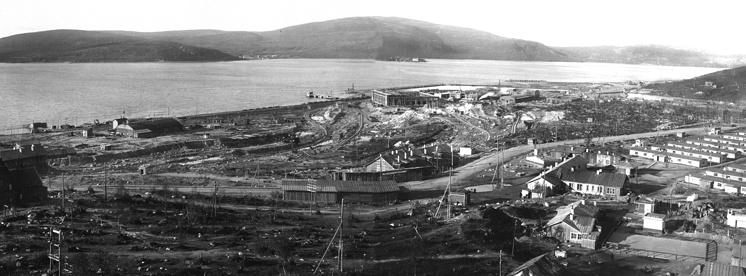Панорама строительной площадки Мурманского судоремонтного завода Главсевморпути, 1937 год